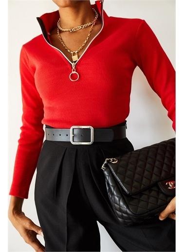 XHAN Lila Kaşkorse Fermuarlı Bluz 1Kxk8-44690-26 Kırmızı